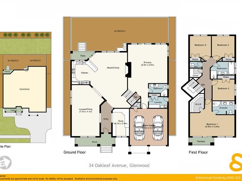 34 Oakleaf Avenue, Glenwood, NSW 2768 - floorplan