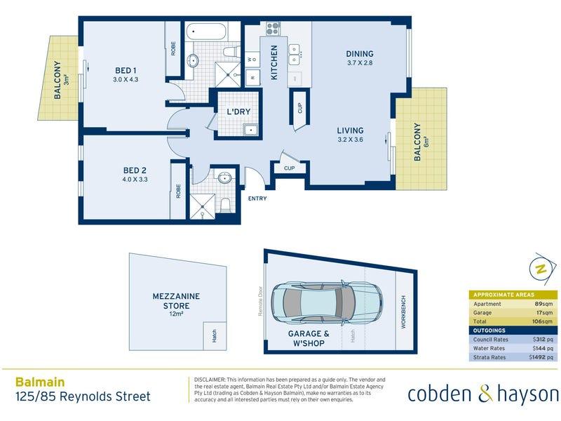 125/85 Reynolds Street, Balmain, NSW 2041 - floorplan