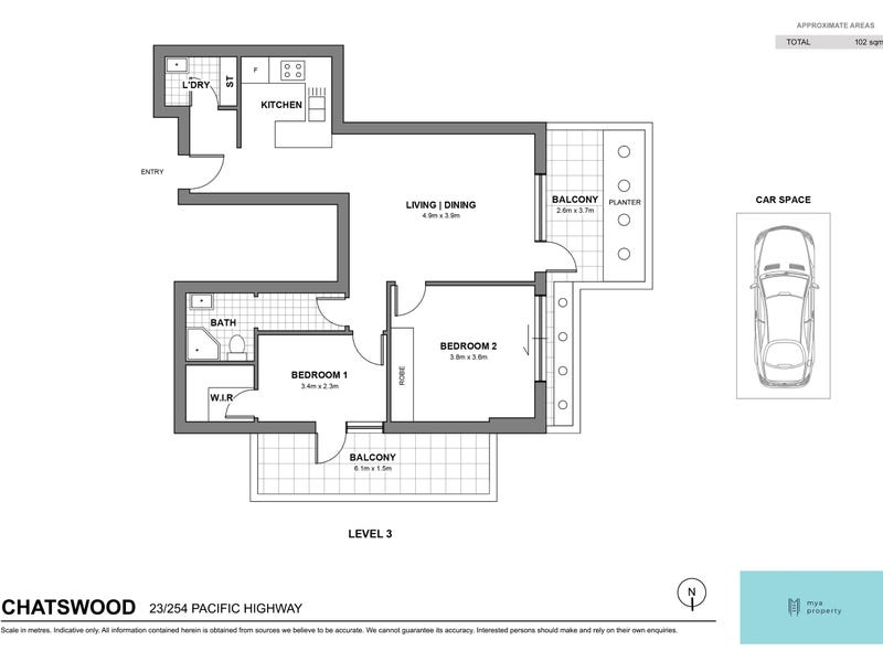 23/524-542 Pacific highway ( Rear of the block), Chatswood, NSW 2067 - floorplan