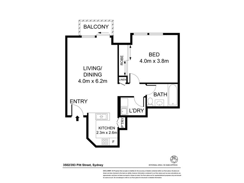 3502/393 Pitt Street, Sydney, NSW 2000 - floorplan