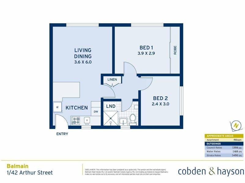 1/42 Arthur Street, Balmain, NSW 2041 - floorplan