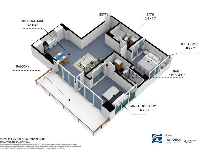 2902/135 City Road, Southbank, Vic 3006 - floorplan