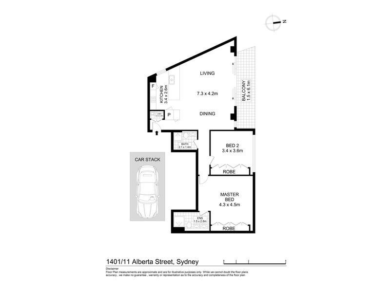 1401/11 Alberta Street, Sydney, NSW 2000 - floorplan