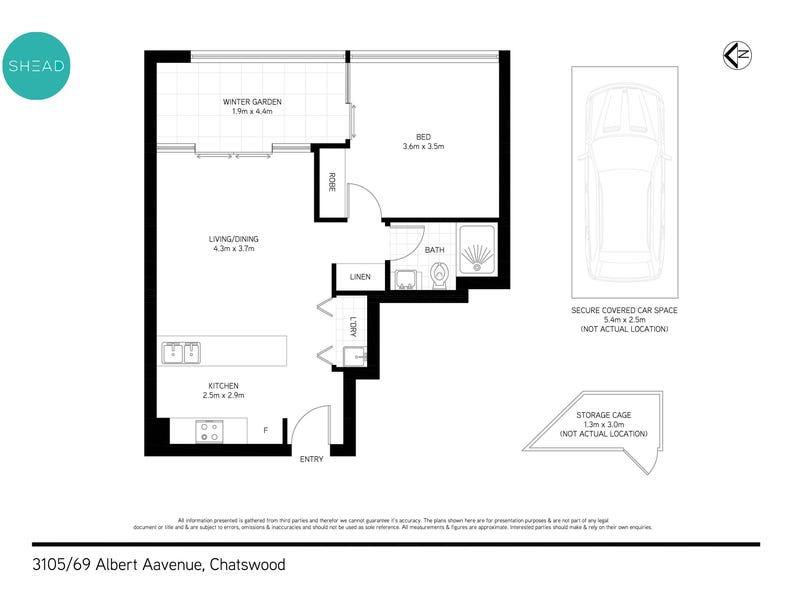 3105/69 Albert Avenue, Chatswood, NSW 2067 - floorplan