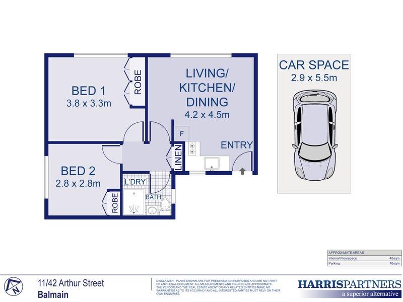 11/42 Arthur Street, Balmain, NSW 2041 - floorplan