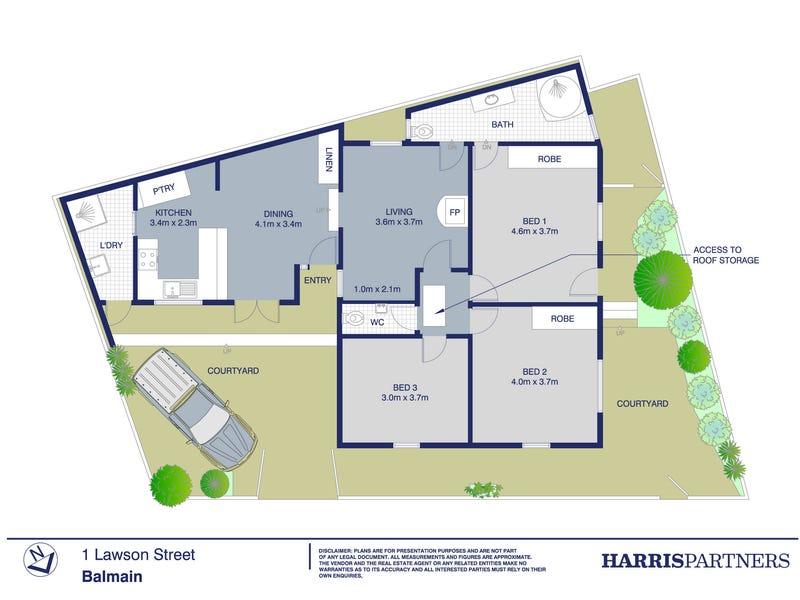 1 Lawson Street, Balmain, NSW 2041 - floorplan