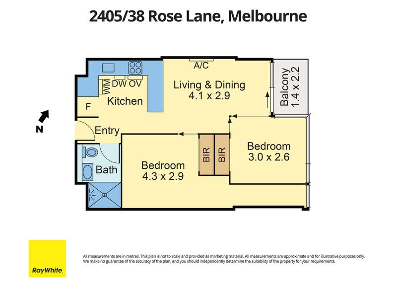 2405/38 Rose Lane, Melbourne, Vic 3000 - floorplan