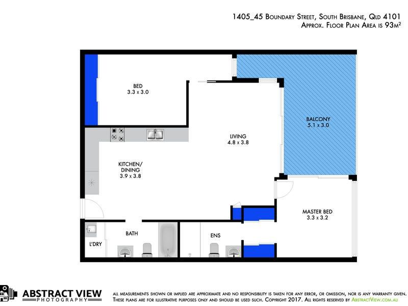 1405/45 Boundary Street, South Brisbane, Qld 4101 - floorplan
