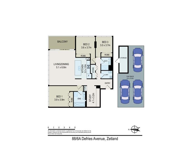 88/6a Defries Ave, Zetland, NSW 2017 - floorplan