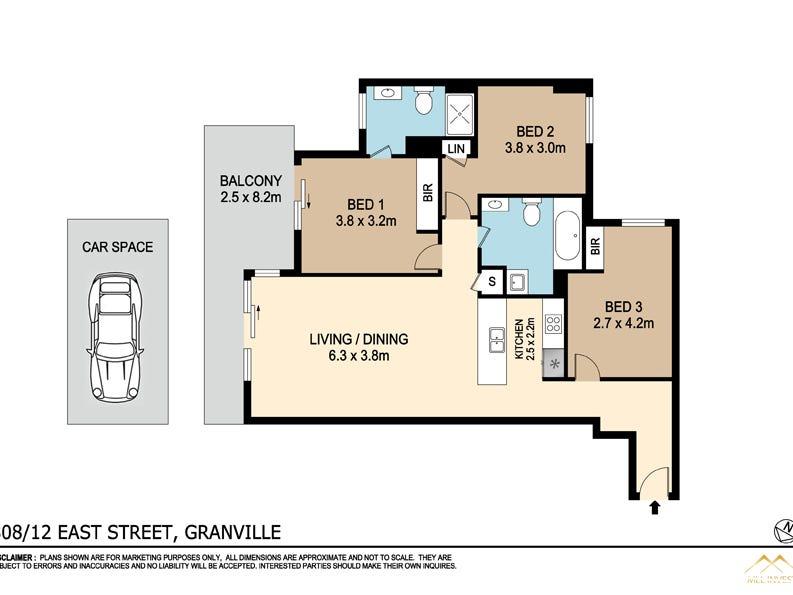 808/12 East Street, Granville, NSW 2142 - floorplan