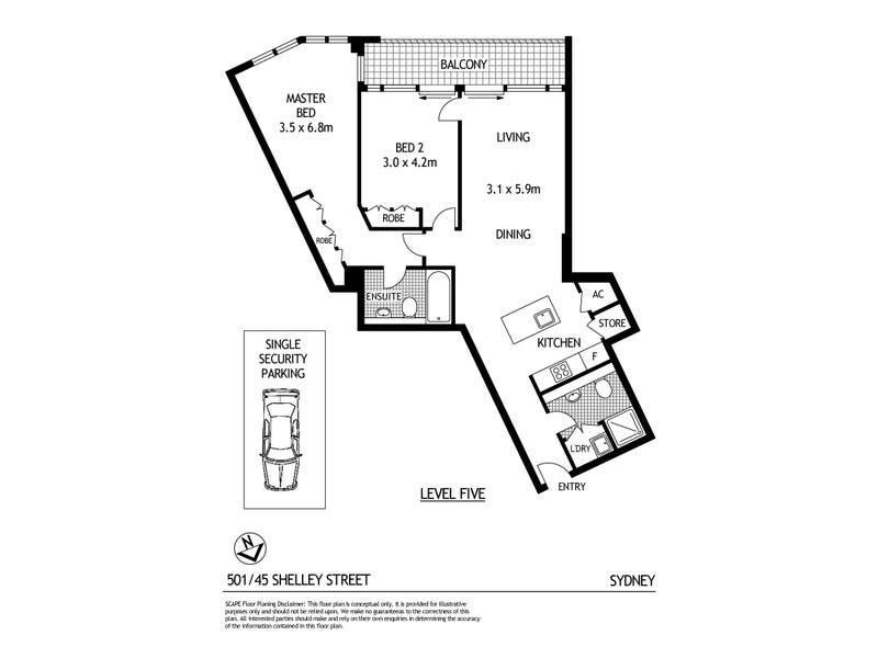501/45 Shelley Street, Sydney, NSW 2000 - floorplan