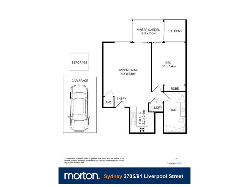 2705/91 Liverpool Street, Sydney, NSW 2000 - floorplan