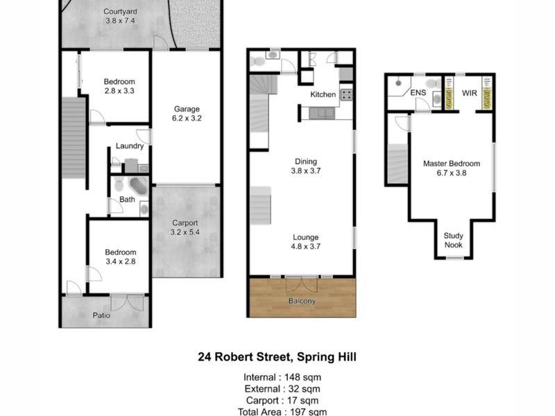 24 Robert Street, Spring Hill, Qld 4000 - floorplan