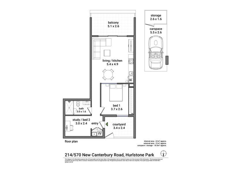214/570 New Canterbury Road, Hurlstone Park, NSW 2193 - floorplan