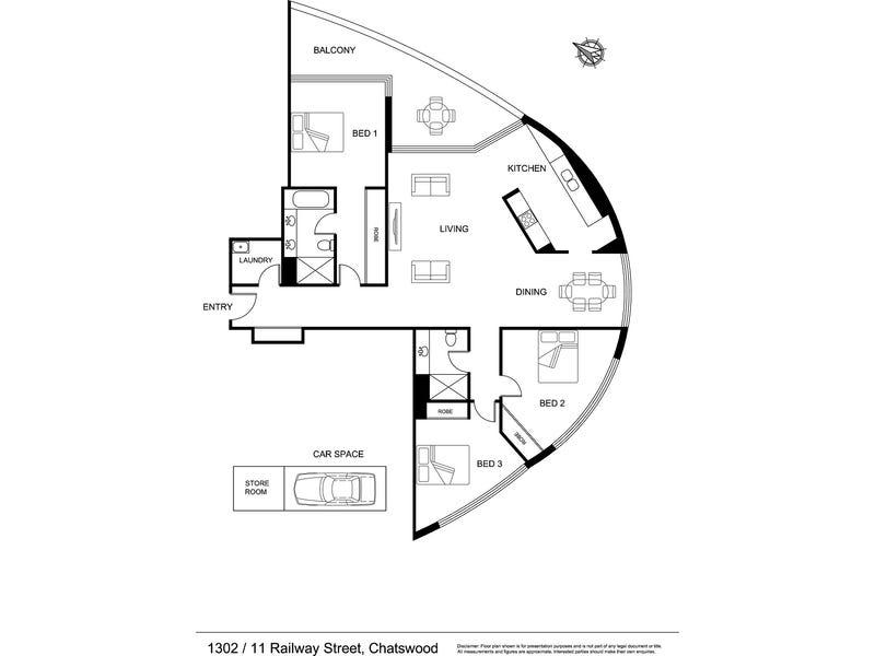 1302/11 Railway Street, Chatswood, NSW 2067 - floorplan