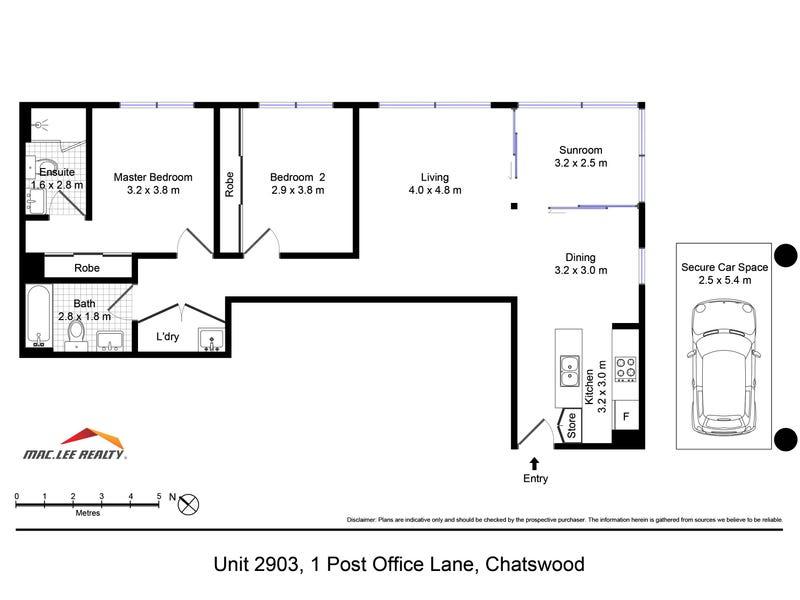 2903/1 Post Office Lane, Chatswood, NSW 2067 - floorplan