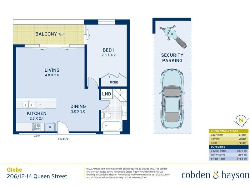206/12-14 Queen Street, Glebe, NSW 2037 - floorplan