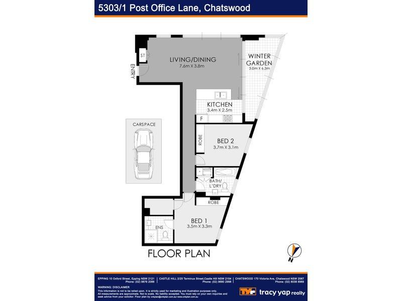 5303/1 Post Office Lane, Chatswood, NSW 2067 - floorplan