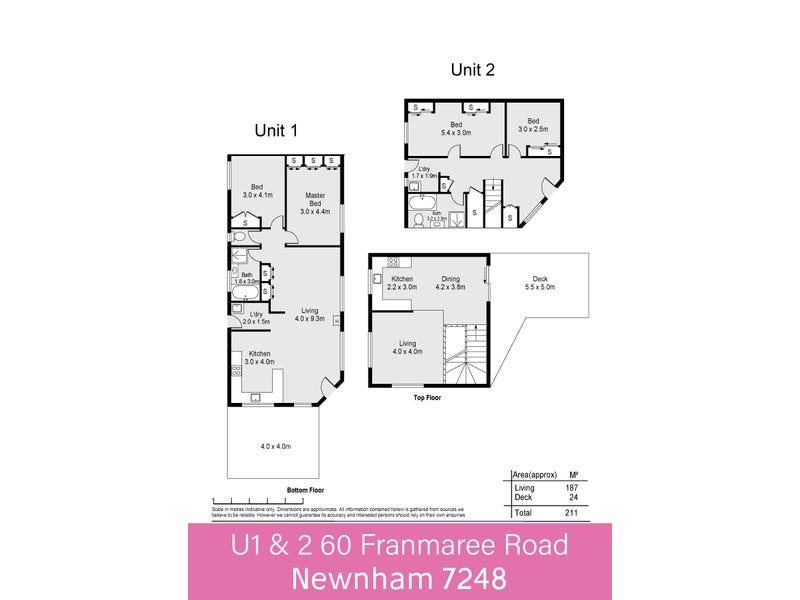 1&2/60 Franmaree Road, Newnham, Tas 7248 - floorplan