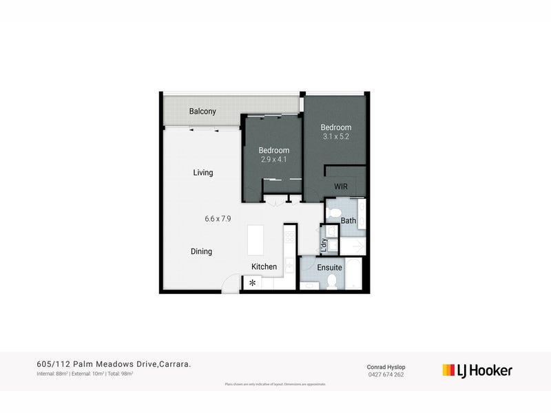 605/112 Palm Meadows Drive, Carrara, Qld 4211 - floorplan