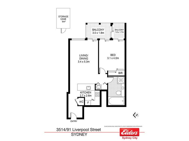 3514/91 Liverpool Street, Sydney, NSW 2000 - floorplan