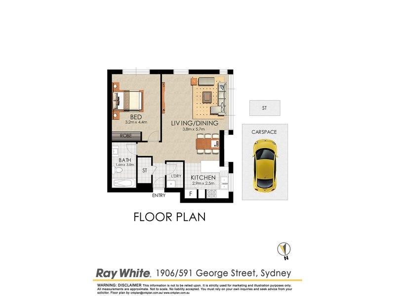 1906/591 George Street, Sydney, NSW 2000 - floorplan
