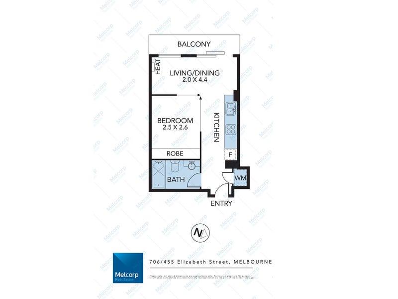 706/455 Elizabeth Street, Melbourne, Vic 3000 - floorplan