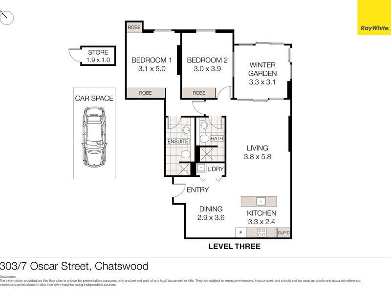303/7 Oscar Street, Chatswood, NSW 2067 - floorplan