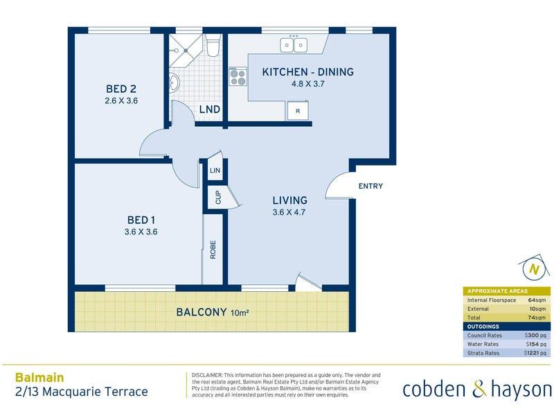 2/13 Macquarie Terrace, Balmain, NSW 2041 - floorplan