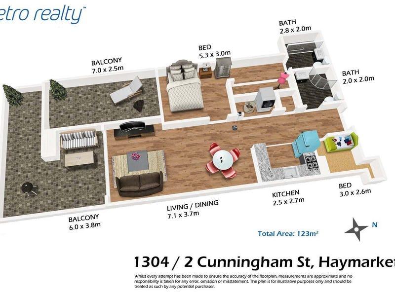 1304/2 Cunningham St, Sydney, NSW 2000 - floorplan