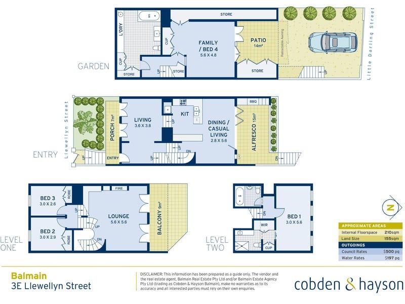 3E Llewellyn Street, Balmain, NSW 2041 - floorplan