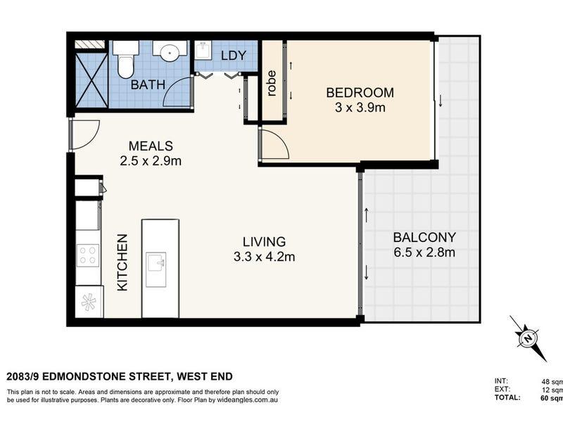 2083/9 Edmondstone Street, South Brisbane, Qld 4101 - floorplan