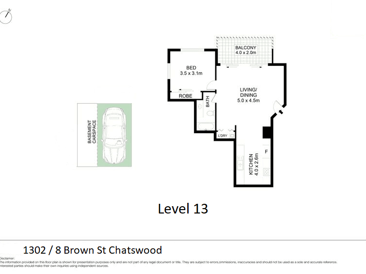 1302/8 Brown Street, Chatswood, NSW 2067 - floorplan