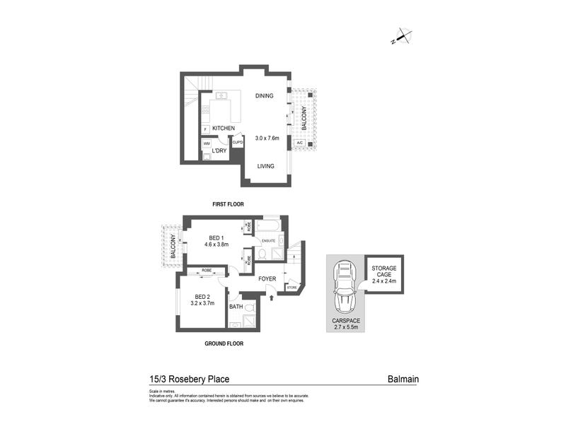 15/3 Rosebery Place, Balmain, NSW 2041 - floorplan