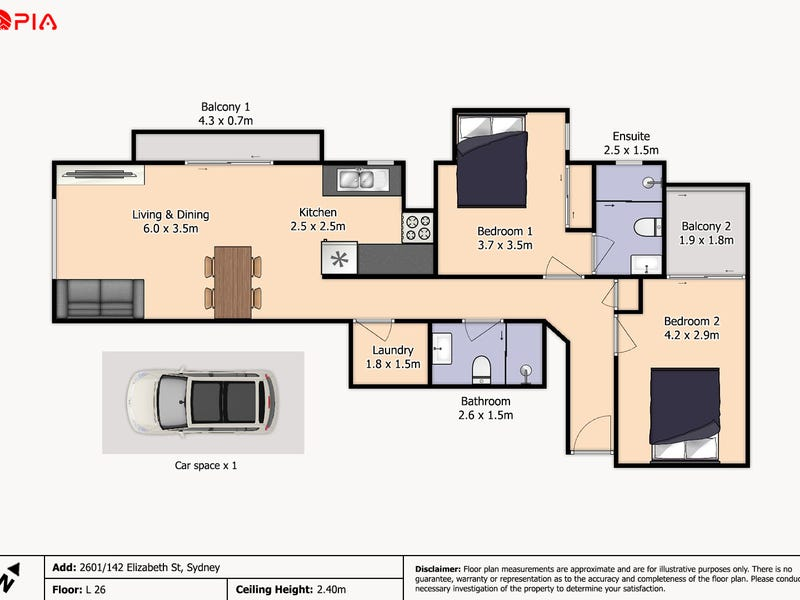 2601/148 Elizabeth St, Sydney, NSW 2000 - floorplan