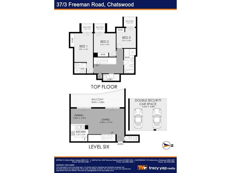 37/3-5 Freeman Road, Chatswood, NSW 2067 - floorplan