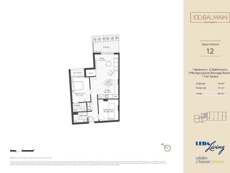 12/100 Reynolds Street, Balmain, NSW 2041 - floorplan