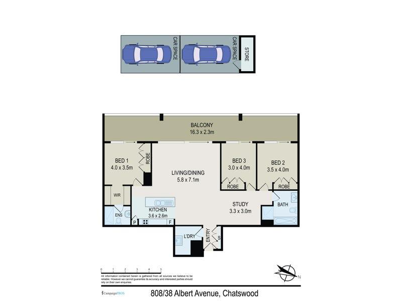808/38C Albert Avenue, Chatswood, NSW 2067 - floorplan
