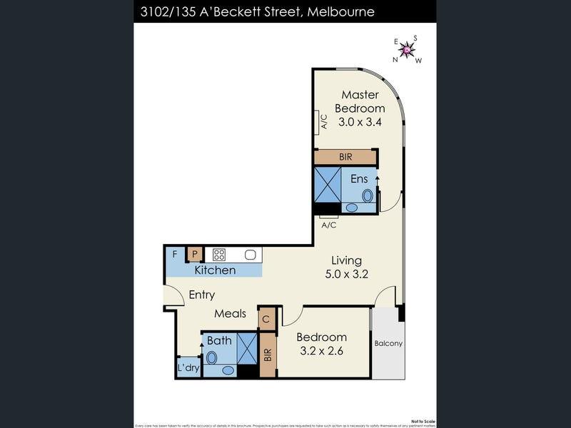 3102/135 A'Beckett Street, Melbourne, Vic 3000 - floorplan
