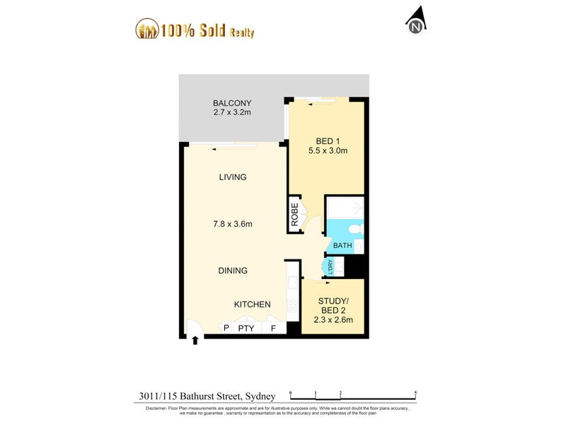 3011/115 Bathurst Street, Sydney, NSW 2000 - floorplan