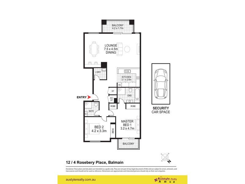 12/4 Rosebery Place, Balmain, NSW 2041 - floorplan