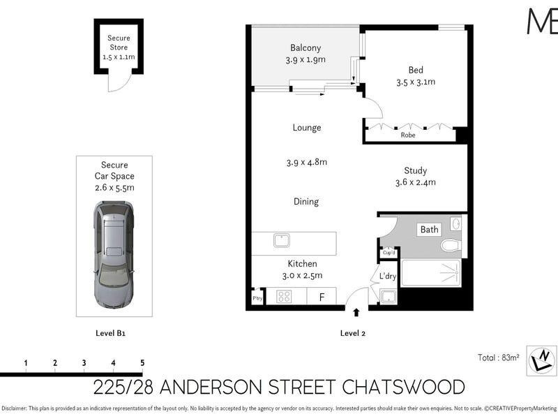 225/28 Anderson Street, Chatswood, NSW 2067 - floorplan