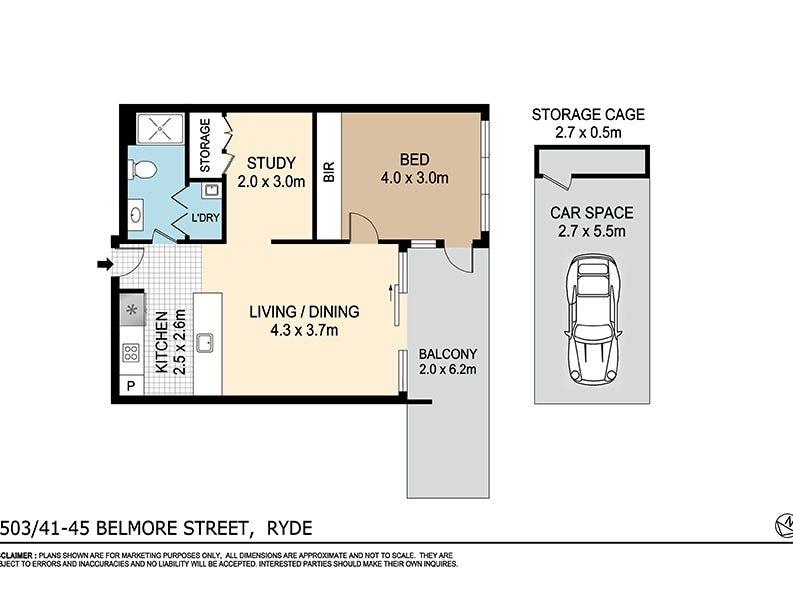 B503/41-45 Belmore Street, Ryde, NSW 2112 - floorplan