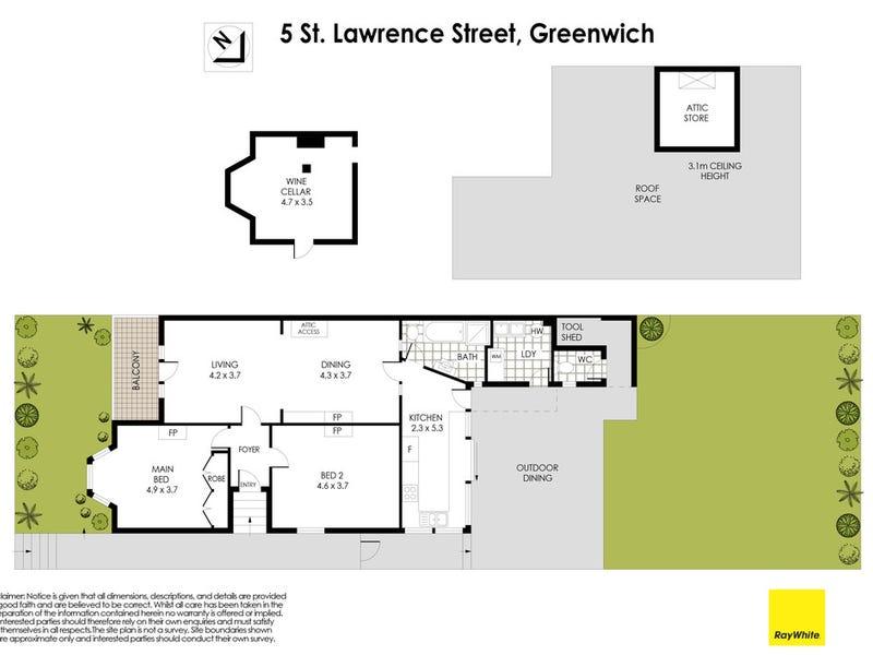 5 St Lawrence Street, Greenwich, NSW 2065 - floorplan