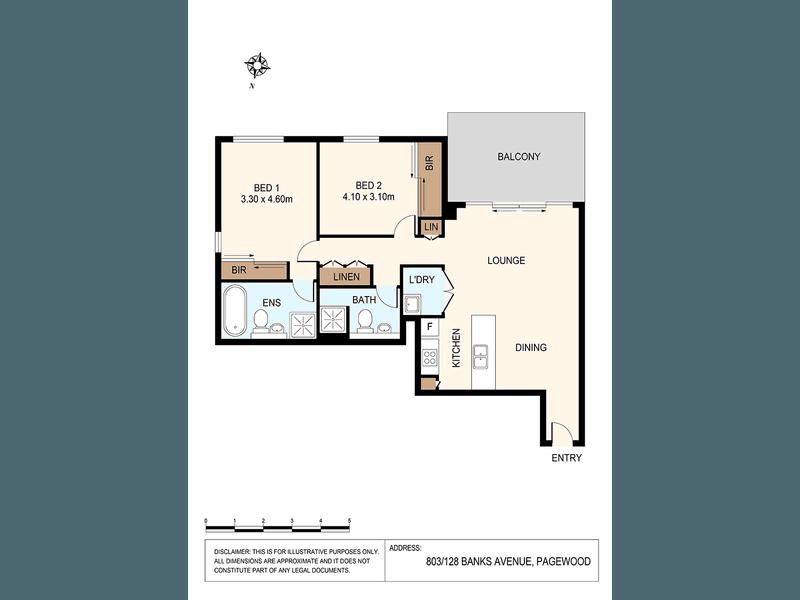803/128 Banks Ave, Pagewood, NSW 2035 - floorplan