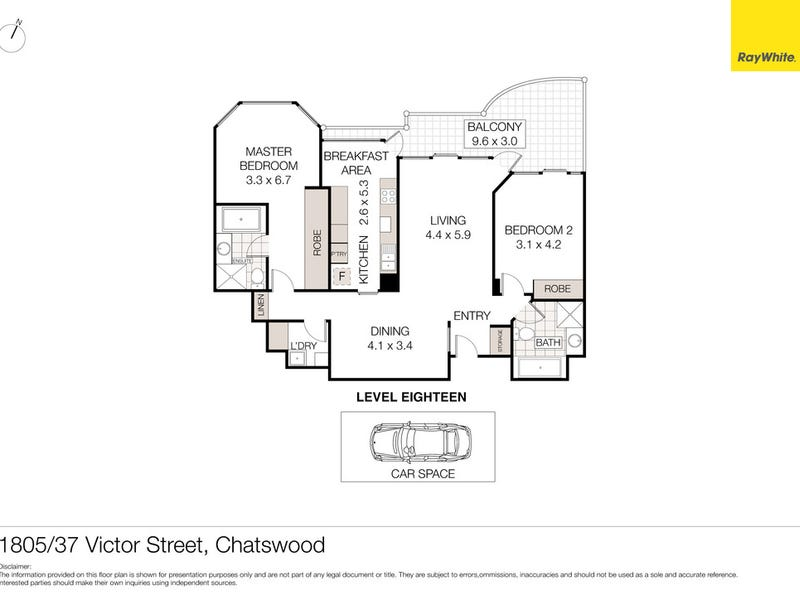 1805/37 Victor Street, Chatswood, NSW 2067 - floorplan