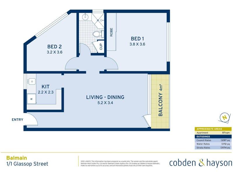 1/1 Glassop Street, Balmain, NSW 2041 - floorplan
