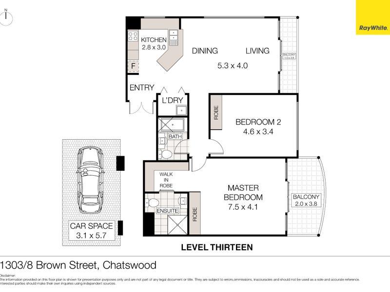1303/8 Brown Street, Chatswood, NSW 2067 - floorplan