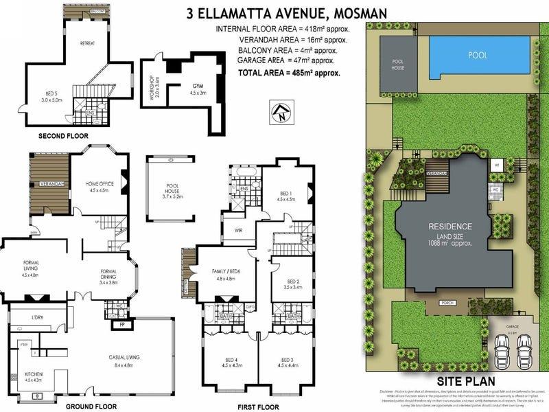 3 Ellamatta Avenue, Mosman, NSW 2088 - floorplan