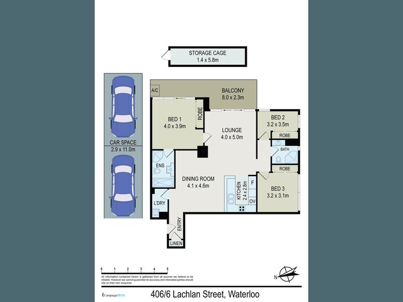 406/6 Lachlan Street, Waterloo, NSW 2017 - floorplan